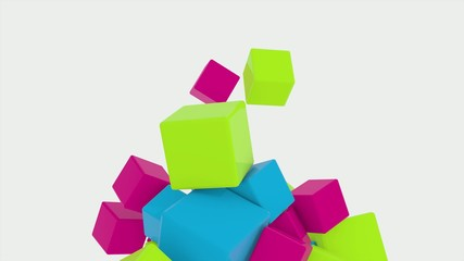 3D COLORED CUBES BOUNCING AND SPINNING 02