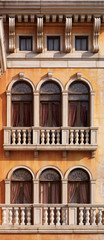 Arched windows of Venetian house