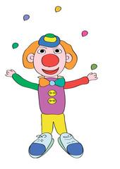 Клоун жонглирует шариками
