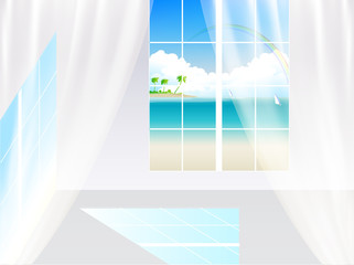 窓 部屋 海