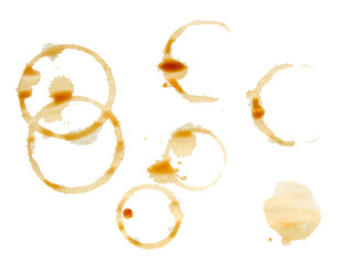Coffee stains isolated on white