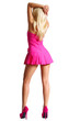 Постер, плакат: Dancing Blonde Girl in Short Pink Dress and High Heels
