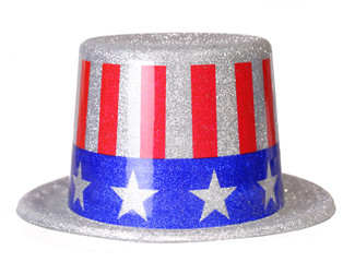 Patriotic Hat with American Flag isolated on white. Uncle Sam.