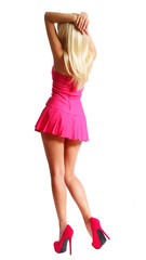 Dancing Blonde Girl in Short Pink Dress and High Heels