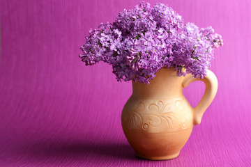 Beautiful lilac flowers in pitcher on purple background