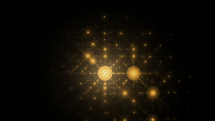 Golden abstract festive ornaments, animation, seamless