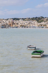 Harbor of Marsaxlokk, a fishing village in Malta.