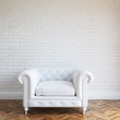 White Walls Brick Interior With Classic Leather Armchair - 64780082