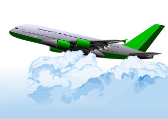 Airplane on the air among the clouds. Vector illustration