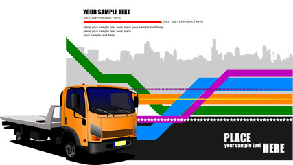 Abstract hi-tech background with orange lorry image. Vector illu