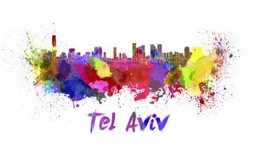 Tel Aviv skyline in watercolor