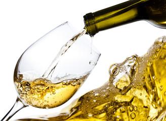 White wine isolated  on white background