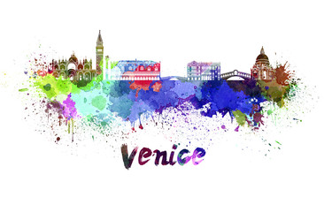 Venice skyline in watercolor