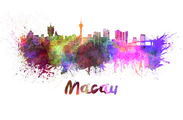 Macau skyline in watercolor