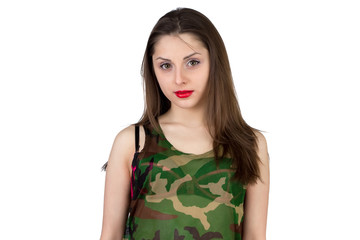 Girl in camouflage shirt - isolated photo