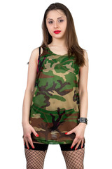 Standing girl in camouflage shirt