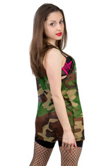 Isolated portrait of Girl in camouflage shirt