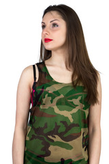 Isolated photo of Girl in camouflage shirt