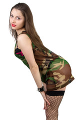 Bended girl in camouflage shirt