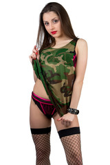 Girl in camouflage shirt with panties