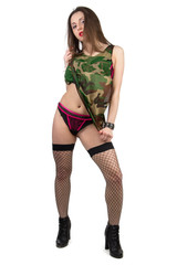 Girl in camouflage shirt with panties and stocking