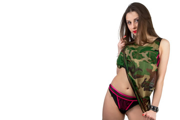 Girl in camouflage T-shirt with leather bracelet
