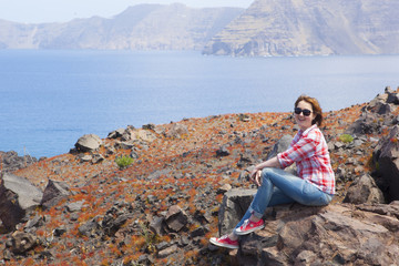 Woman visiting volcano