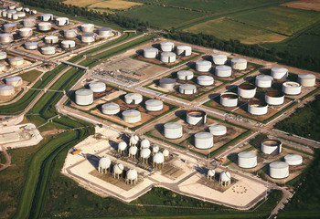 Aerial view - Oil Refinery Storage Tanks