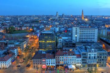 Antwerp aerial at twilight, Belgium