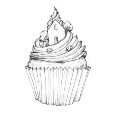 Cupcake mit Häuschen