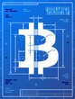 Bitcoin sign like blueprint drawing. Vector money concept