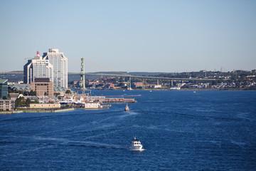 White Boat Leaving Halifax Nova Scotia