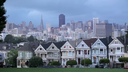 "Victorian houses ""Painted ladies"". San Francisco,"