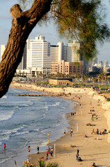 View to Tel Aviv seashore.  Israel.