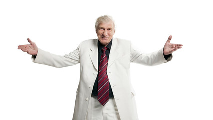 Mature businessman shows a greeting sign