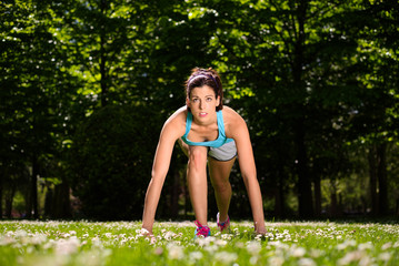 Woman ready for running in park