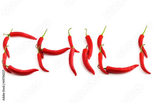 Staande foto Hot chili peppers Chili Schriftzug