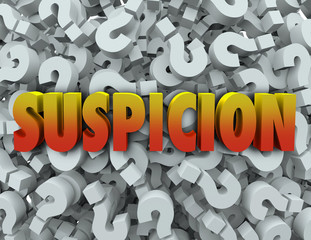 Suspicion Word Question Mark Background Wonder Suspect