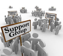 Support Group People Meeting Around Signs Help Therapy Communica