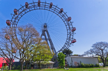 Viennese giant wheel in Prater amusement park at Vienna