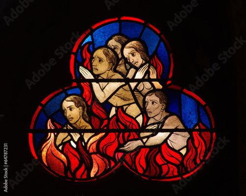 canvas print picture Stained glass window of people burning in hell
