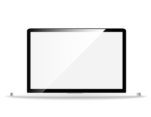 Laptop clean screen, isolated on white background