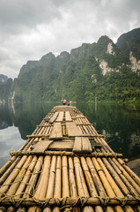 Bamboo rafts on a lake in Thailand.