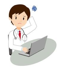 男性医師 パソコン