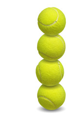 tennis balls stacked together over white