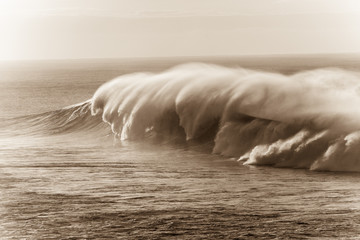 Wave Sepia Contrasts Crashing Water Spray