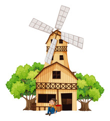 A big wooden house with a windmill