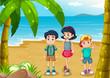 Children strolling at the beach