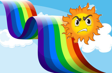 A sun frowning near the rainbow