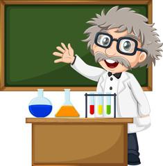 A scientist in front of the empty blackboard
